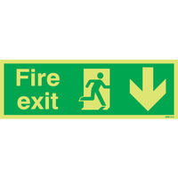 Niteglo Fire Exit Running Man Arrow Down 150 x 450mm PVC Safety Sign - FX04211M