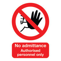 No Admittance Authorised Personnel Only A5 Self-Adhesive Safety Sign - ML01551S