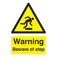 View more details about Warning Beware of Step A5 Self-Adhesive Safety Sign - HA21451S