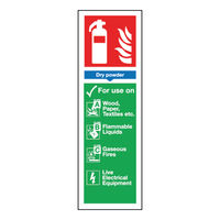 Safety Sign Fire Extinguisher Dry Powder 280 x 90mm - F201/S