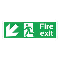View more details about Fire Exit Arrow Down Left 150 x 450mm Self Adhesive Safety Sign - E97S/S