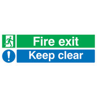 Fire Exit Keep Clear 150 x 450mm Safety Sign PVC - EC08S/R