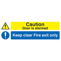 View more details about Caution Door is Alarmed Keep Clear 150 x 450mm Safety Sign - SR72031