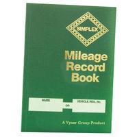 Simplex Hardback Mileage Record Book, Green, 14 Entries per Page - MRB