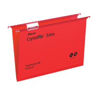 Rexel Crystalfile Extra Foolscap Red Suspension Files 15mm - Pk25 - 70629