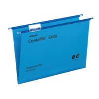 Rexel Crystalfile Extra Foolscap Blue Suspension File 15mm - Pack of 25 - 70630