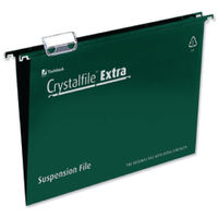 Rexel Crystalfile Extra A4 Green Suspension Files 15mm - Pk25 - 70634