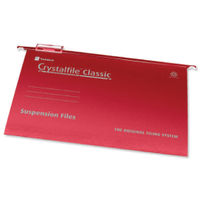 Rexel Crystalfile Classic Red Suspension Files, 15mm - Pack of 50 - 78141