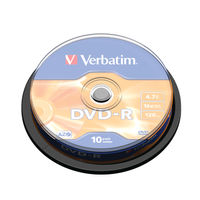 Verbatim 4.7GB 16x DVD-R Non Print Spindle, Pack of 10 - 43523