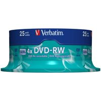 View more details about Verbatim 4.7GB 4x Speed Rewriteable DVD-RW Spindle, Pack of 25 | 43639