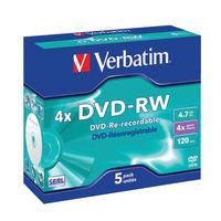 View more details about Verbatim Matt Silver Non-Print 4.7GB 4x DVD-RW Discs, Pack of 5 - 43285