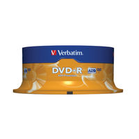 Verbatim DVD-R 16x 4.7GB Matt Silver Surface Discs, Pack of 25 - 43522