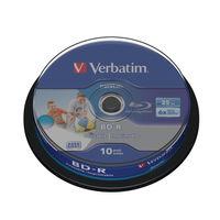 Verbatim 25GB 6x Blu Ray BD-R Discs Printable Spindle, Pack of 10 - 43804
