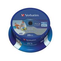 Verbatim 25GB 6x Blu Ray BD-R Discs Printable Spindle, Pack of 25 - 43811