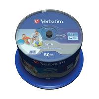 Verbatim 25GB 6x Blu Ray BD-R Discs Printable Spindle, Pack of 50 - 43812