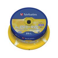 Verbatim 4.7 GB 4x DVD+RW Non Print Spindle, Pack of 25 - 43489