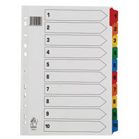 Multicoloured A4 1-10 Mylar Index Dividers WX01519