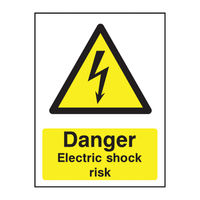 View more details about Danger Electric Shock Risk A5 PVC Safety Sign - HA10751R
