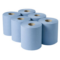 2Work Centrefeed Roll 3 Ply Blue, Pack of 6 - CBL373S