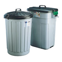 View more details about Addis Dustbin Round 90 Litre Grey With Black Lid AG813411