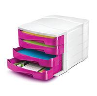 CepPro Gloss Pink/White Four Drawer A4 Desktop Unit - 394BI G PINK