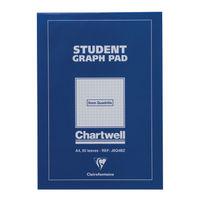 Chartwell A4 Student Graph Pad 50 Leaf 5mm Quadrille - J6Q4B