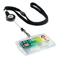 Durable Textile Lanyard with Badge Reel, Black, 440mm, Pack of 10 - 8223/01