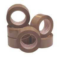 Ambassador Buff Packing Tape, 50mm x 132m - Pack of 6 Rolls - JF03909