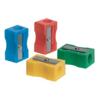 Q-Connect Assorted Plastic Single Hole Pencil Sharpeners, Pack of 10 - KF76992