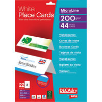 DECAdry White Place Cards, 200gsm, 210 x 63.5mm - Pack of 44 - LX19191
