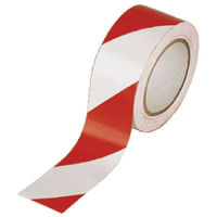 Vinyl White/Red 50mm x 33m Hazard Tape, Pack of 6 - PVC-50-22-HAZWR
