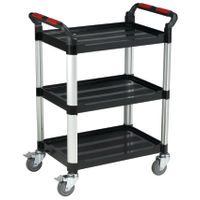 Barton Three Shelf Plastic/Aluminium Trolley, 150kg Capacity - MJ32108