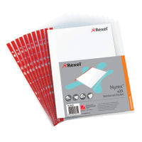 Rexel Reinforced Side Opening A4 Punched Pockets, 90 Micron - Pack of 25 - 12253