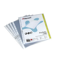 Rexel Premium A5 Top Opening Punched Pockets, Pack of 100 - 1300063