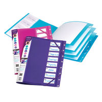 View more details about Snopake 8 Part FileLastic File, Assorted - Pack of 5 - 14965