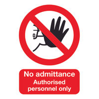 View more details about No Admittance Authorised Personnel Only A5 PVC Safety Sign - ML01551R