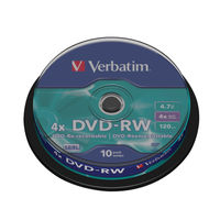 Verbatim 4.7 GB DVD-RW Non Printable Spindle, Pack of 10 - 43552