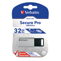 View more details about Verbatim 32GB Silver and Black Secure Pro USB 3.0 Drive   98665