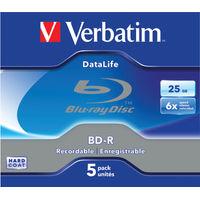 Verbatim Blu-Ray BD-R 25GB Jewel Case (Pack of 5) - 43836
