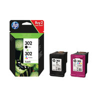 HP 302 Black and Colour Ink Cartridge Dual Pack - X4D37AE