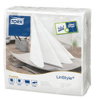 View more details about Tork LinStyle Dinner Napkins 4 Fold White (Pack of 50) 478711