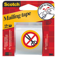 Scotch Tape - Tear-By-Hand Clear Clear Mailing Tape, 50mm x 16m - 3M77293