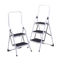 Folding Step Stool 2 Tread High Back White Aluminium