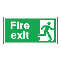 View more details about Fire Exit Running Man Right 150 x 300mm Self Adhesive Safety Sign - E98A/S