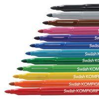 Swash Komfigrip Colouring Pen Broad Tip Assorted, Pack of 12 - TW12BD