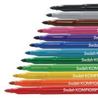 Swash Komfigrip Colouring Pen Broad Tip Assorted, Pack of 12 - TW12BD