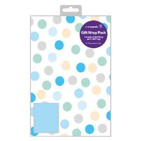 Regent Polka Dot Gift Wrap and Tag Blue (Pack of 12) F608