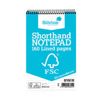 View more details about Silvine Shorthand Spiral Feint Ruled Notepad - Pack of 10 - FSC160