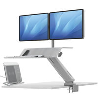 View more details about Fellowes Lotus White Sit Stand Dual Screen Work Station – 8081801