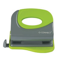 Q-Connect Grey and Green Softgrip Metal Hole Punch - KF00996